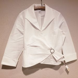 Talbots White Jewel Embellished Faux Wrap Blouse